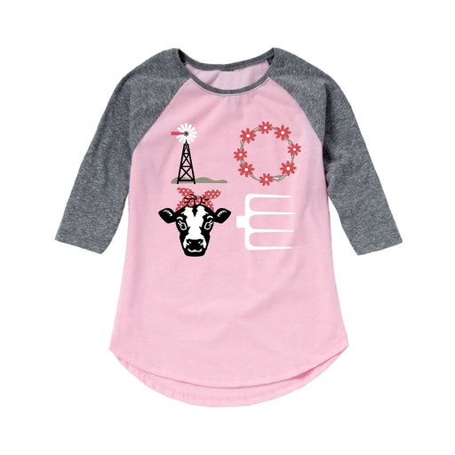 LOVE Cow - Toddler Girl Raglan
