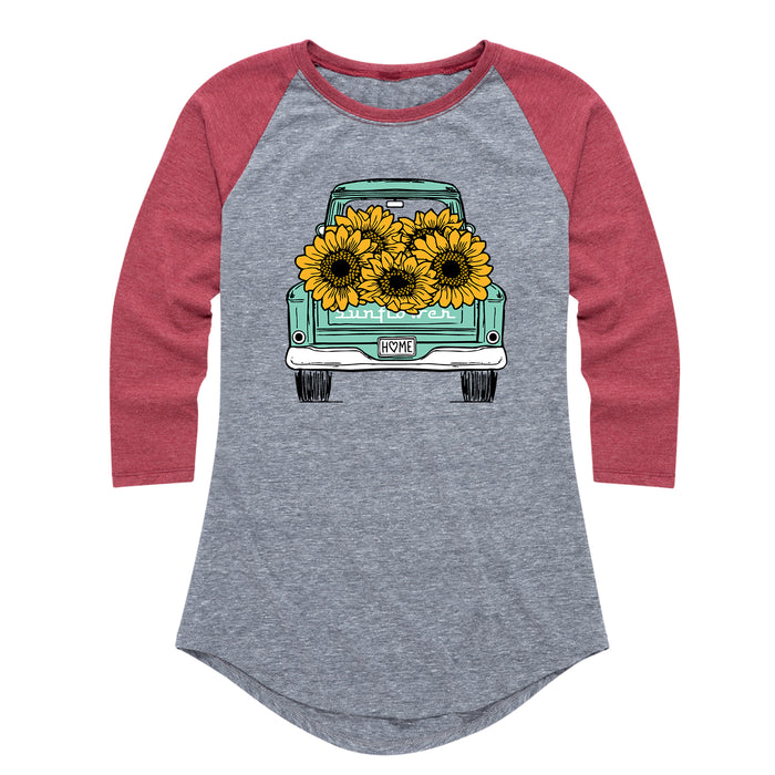 Sunflower Pickup Truck - Women's Raglan