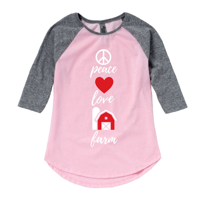 Peace Love Farm - Youth & Toddler Girls Raglan
