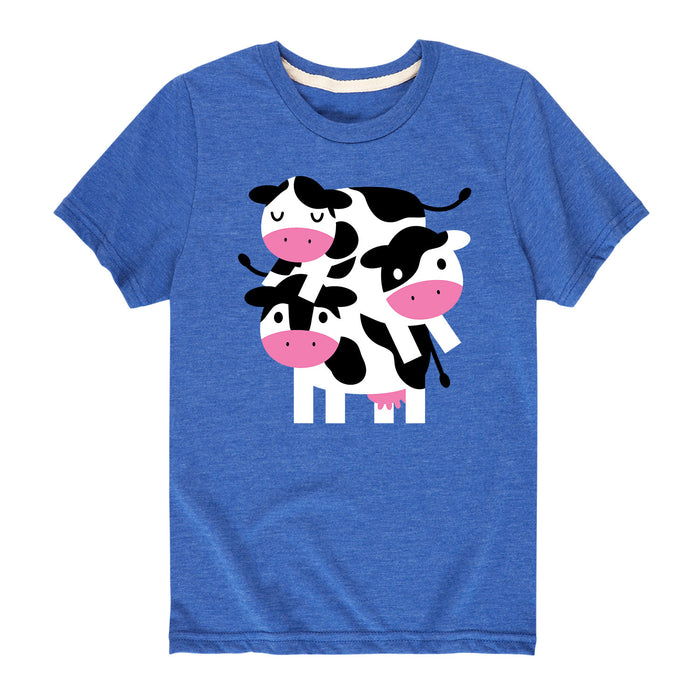 Stacked Cows-Youth Short Sleeve T-Shirt