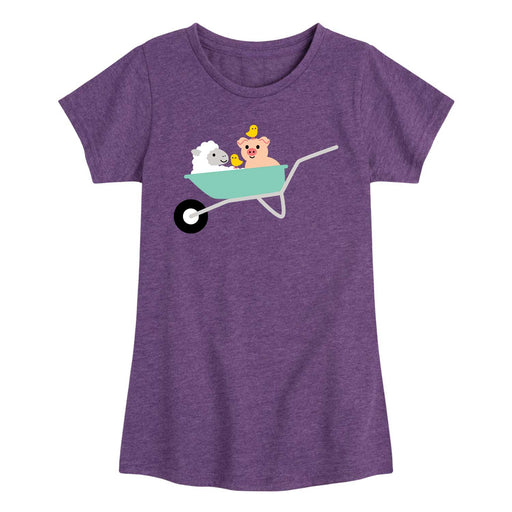 Wheelbarrow With Animals - Youth & Toddler Girls Short Sleeve T-Shirt
