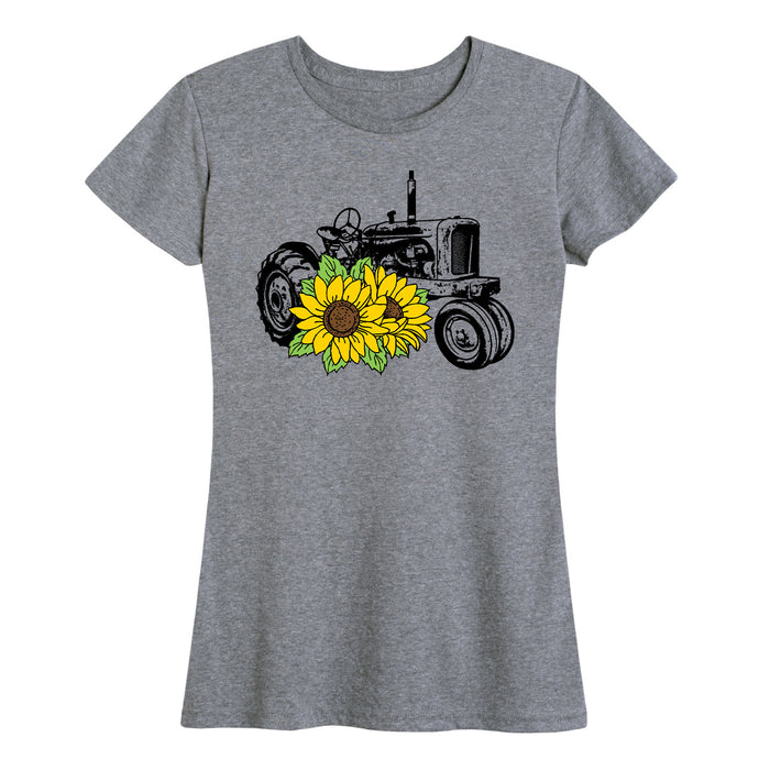 Tractor With Sunflowers - Women's Short Sleeve T-Shirt