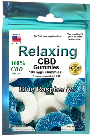 Edible Blue raspberry Gummies 100mg 5 Hemp CBD gummies