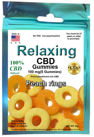 Edible Peach Gummies 100mg 5 Hemp CBD gummies