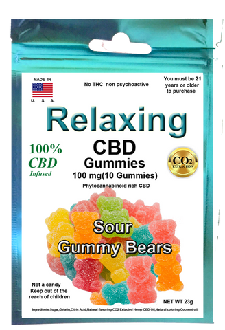 Edible Sour Gummies 100mg 10 Hemp CBD gummies