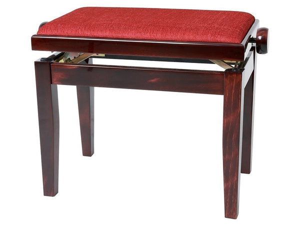 Chesterwood 3 Adjustable Piano Stool Mahogany Gloss - Bordeaux Top