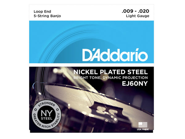 D'Addario 5-String Banjo String Set Nickel, Light, 9-20