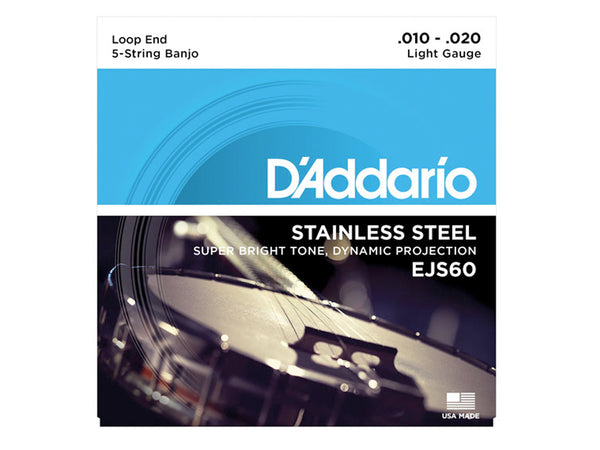 D'Addario 5-String Banjo Stainless Steel String Set Light, 10-20