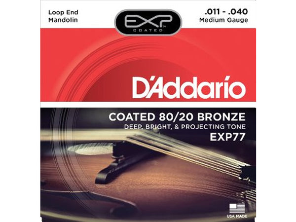 D'Addario EXP77 Coated 80/20 Bronze Medium Mandolin Strings