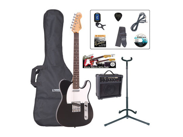 Encore EBP-E2BLK Electric Guitar Pack - Black Gloss
