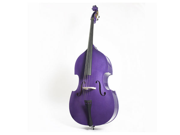 Double Bass Flat Back Laminated 3/4 Size Rock A Billy - Purple