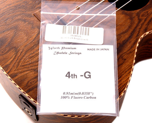 Worth C-LG Clear Single Unwould Low G Ukulele String (2 Pack)