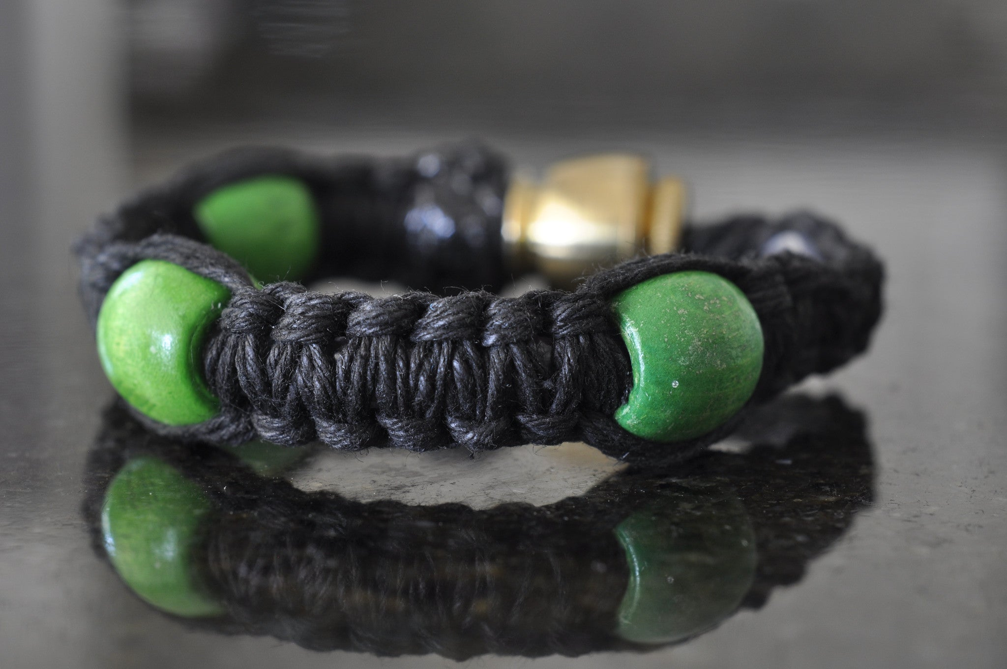 Pipe Bracelet - Black with Beads (choose bead color)