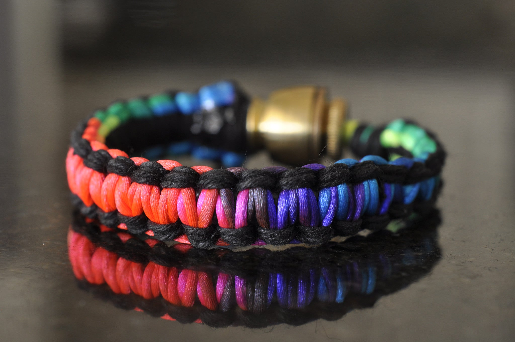 Pipe Bracelet - Black and Rainbow