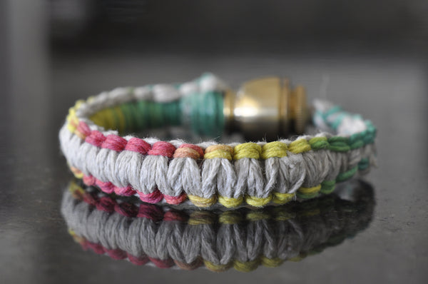 Pipe Bracelet - Natural Hemp and Rasta