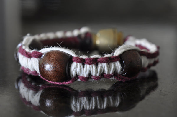 Pipe Bracelet - White & Burgundy w/ Beads (choose bead color)
