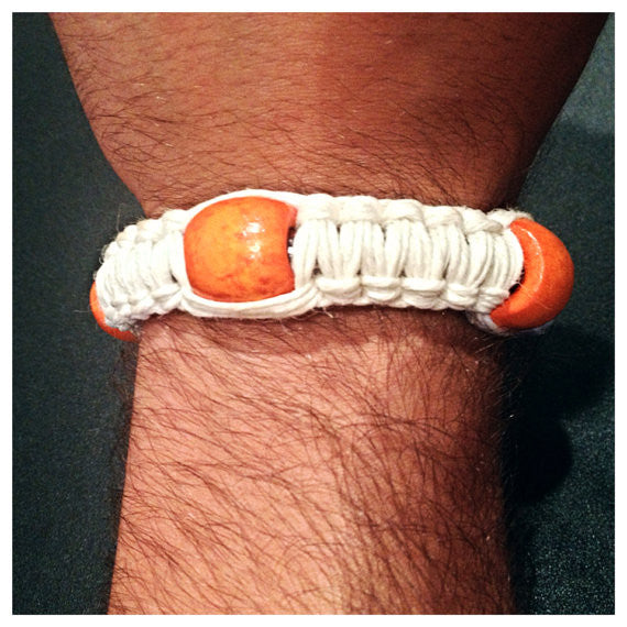 Pipe Bracelet - White w/ Beads (choose bead color)