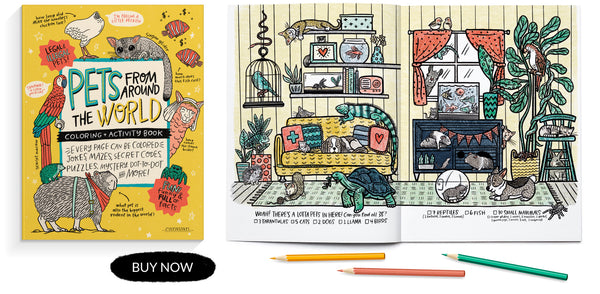 PETS from around the WORLD coloring + activity book
