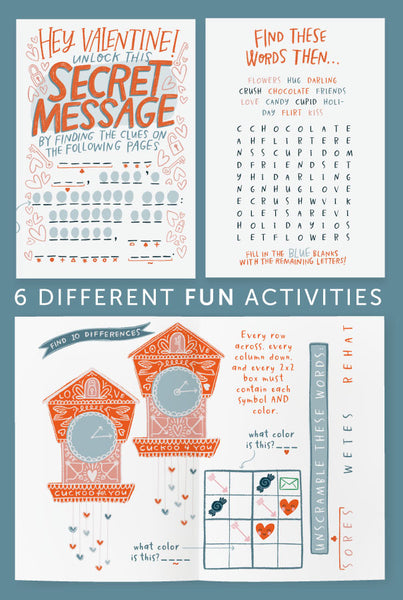 SECRET MESSAGE Valentine Activity Booklet