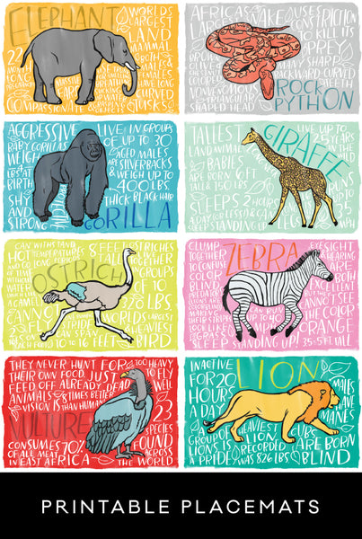 Fun Fact Placemats: African Animals