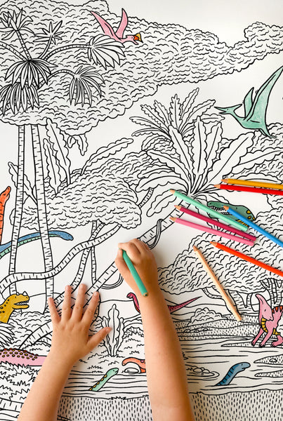Hidden Dinosaurs Giant Coloring Poster
