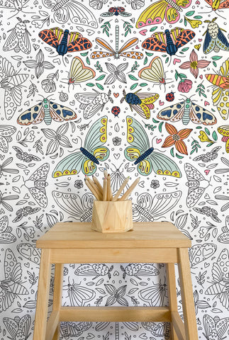 Moths & Butterflies Giant Coloring Poster