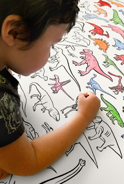 100 DINOSAURS giant coloring poster