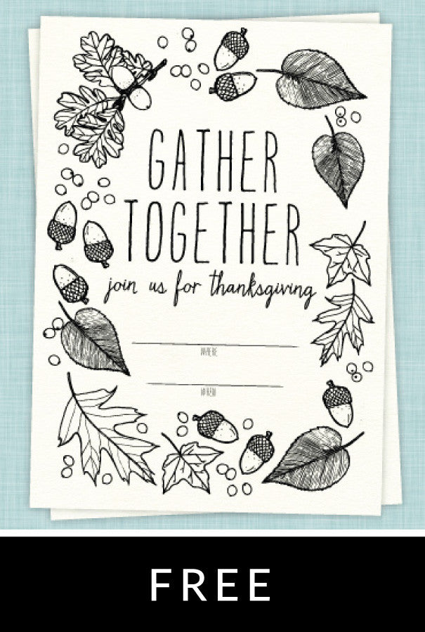 Draw Together Thanksgiving Invitation
