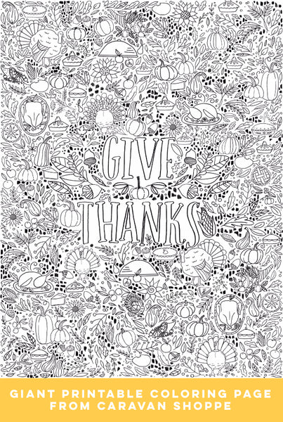 GIANT Thanksgiving Coloring Poster