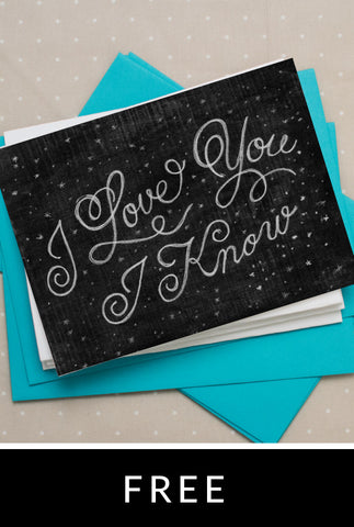 I Love You I Know Notecard