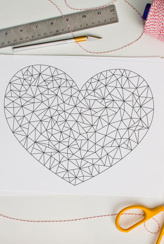 Modern Heart Coloring Page