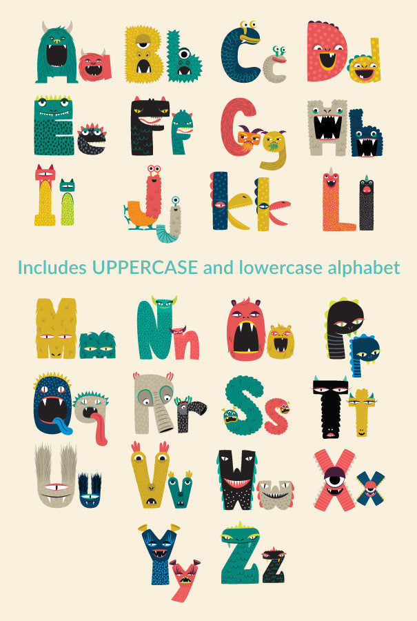 monster alphabet print and play caravan shoppe