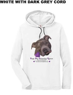 Dogs are Deserving Rescue Logo Long Sleeve Shirt - Light Pullover Hooded