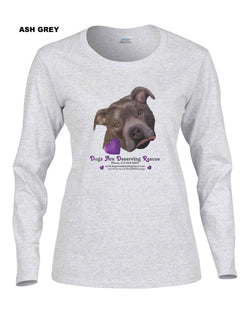 Dogs are Deserving Rescue Logo Long Sleeve Shirt (Women's)