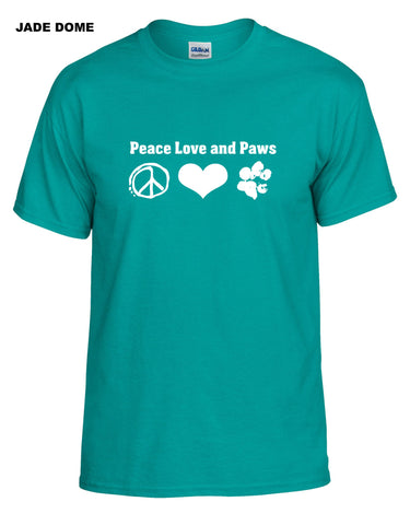 Peace Love and Paws Short Sleeve Shirt - Crewneck