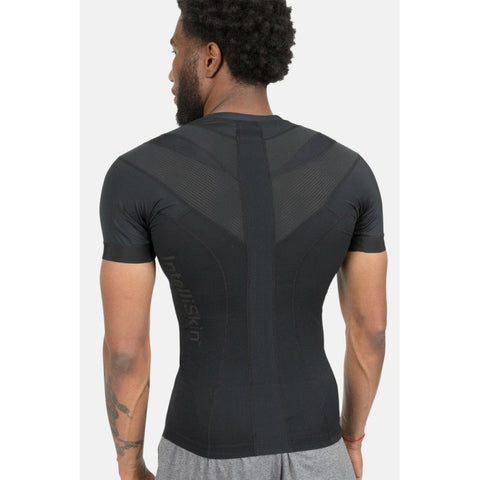 IntelliSkin Black AirStream Tee Men's Compression Shirt for Posture and Performance Sports Wear