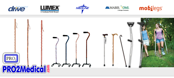 Buy Crutches and Walking Canes for Physical Therapy at PRO2 Medical Supplies in Lubbock TX