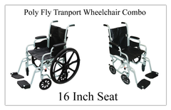 Buy Poly-Fly Transport Wheelchair Combo, 16 Inch Seat Drive #TR16 at PRO2 Medical Equipment in Lubbock Texas