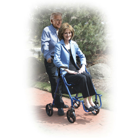 Duet Rollator Transport Chair Combo allow patient to push or be pushed for transport.