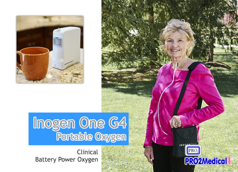 Inogen One G4 Portable Oxygen Concentrator is Light and Easy to use for travel, taking a flight or getting around town.