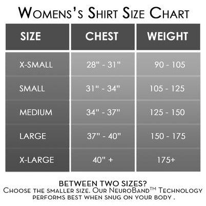 AlignSport Women's Zipper Compression Shirt Sizing Guide