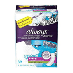 Female Incontinence Liner Always Discreet Maxi Long 39 Inch Length Heavy Absorbency | DualLock Core