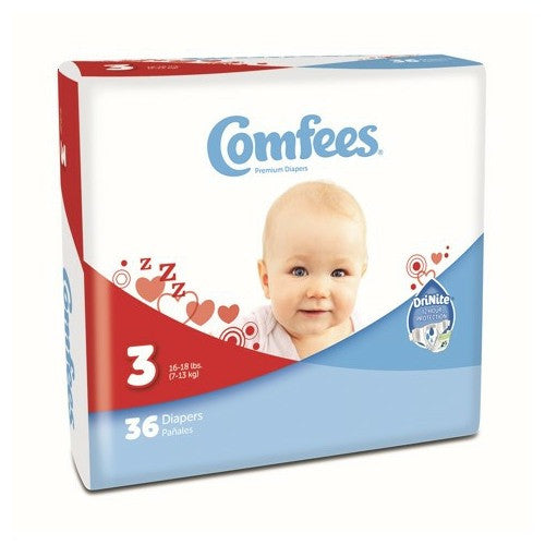 Comfees Size 3 Baby Diaper Tab Closure Disposable | Comfees #CMF-3 - PRO2 Medical Equipment Lubbock