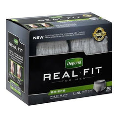 Depend Real Fit Men's Adult Incontinent Brief, Pull Up, Heavy Absorbent