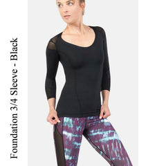 Foundation ¾ Sleeve, Black IntelliSkin Women's Compression Shirt