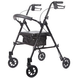 Deluxe Adjustable Rollator, Black, 6 Inch Wheels | Roscoe MRT-413A-RBK - PRO2 Medical Equipment Lubbock