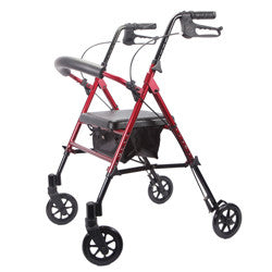 Deluxe Adjustable Rollator, RED, 6 Inch Wheels | Roscoe MRT-413A-RR - PRO2 Medical Equipment Lubbock