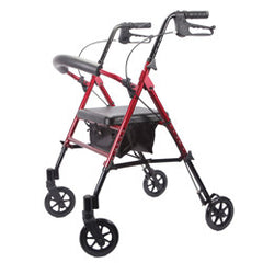 Deluxe Adjustable Rollator, RED, 6 Inch Wheels | Roscoe MRT-413A-RR