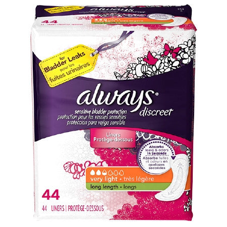 Female Incontinence Liner Always Discreet Light Long Moderate Absorbency | DualLock Core - PRO2 Medical Equipment Lubbock