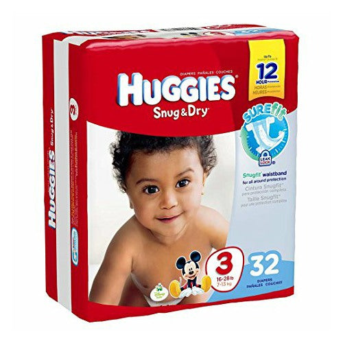 Size 3 Heavy Absorbency Snug & Dry Tab Closure Baby Diaper (16-28 lbs) | Huggies #40668 - PRO2 Medical Equipment Lubbock